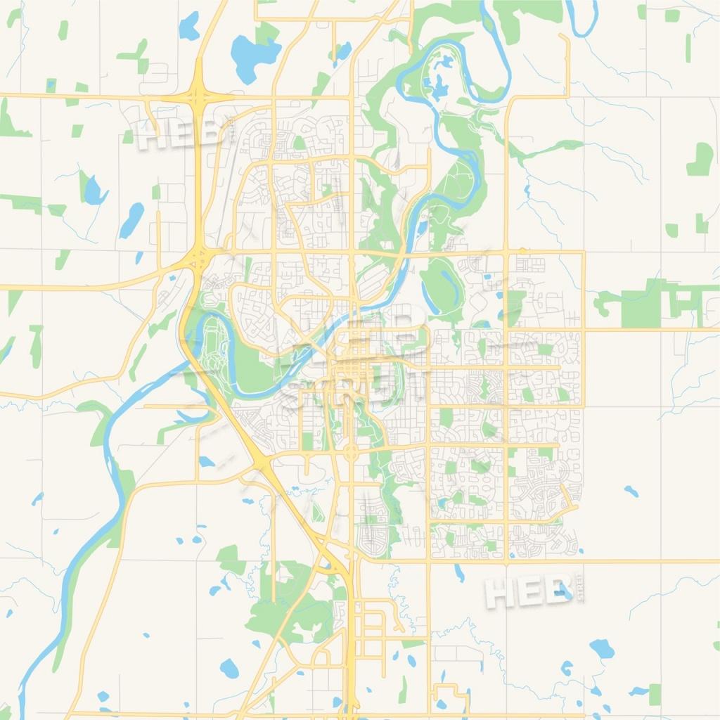 Empty Vector Map Of Red Deer, Alberta, Canada | Hebstreits Sketches - Printable Red Deer Map
