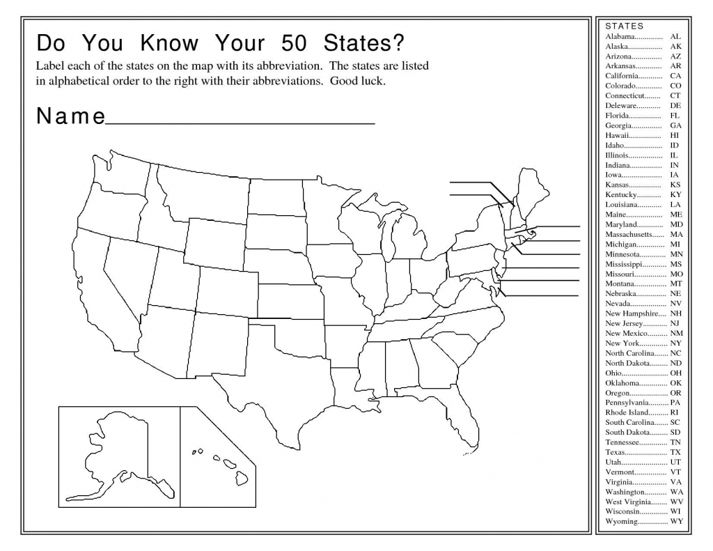 Enthralling Blank Ms Map Us Map Abbreviated States Blank U S Map - Us Map Test Printable