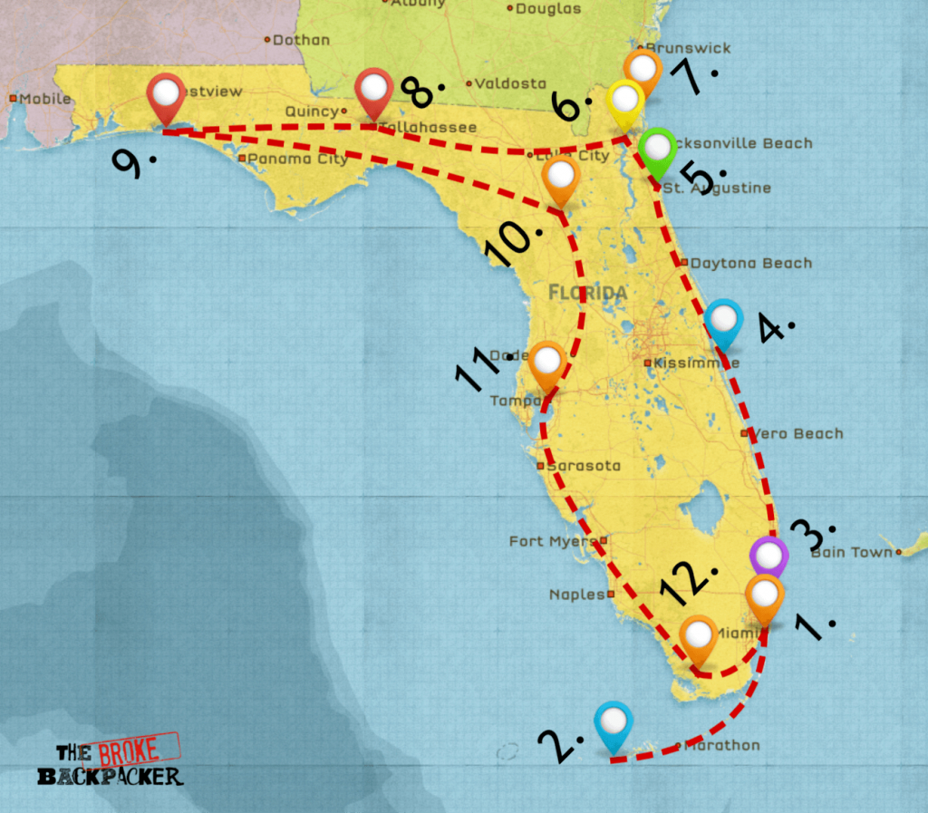 Epic Florida Road Trip Guide For July 2019 - Florida Destinations Map