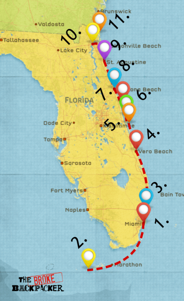 Epic Florida Road Trip Guide For July 2019 - Florida Road Trip Trip Planner Map