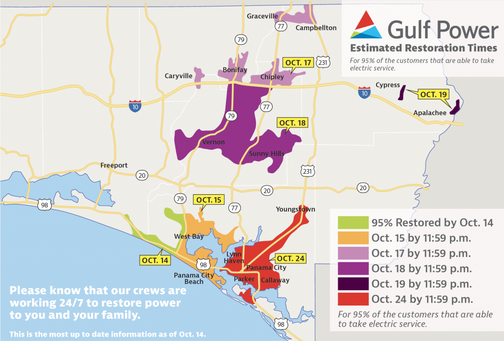 Estimated Restoration Times Announced For All Customers – Oct. 14 - Lynn Haven Florida Map
