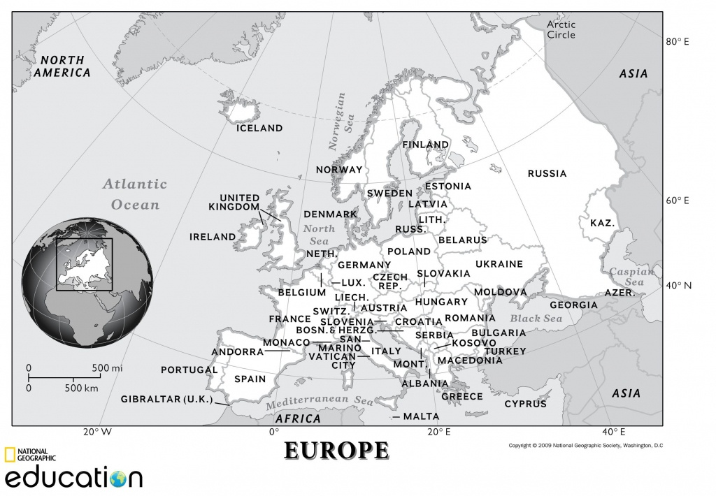 Europe: Physical Geography | National Geographic Society - National Geographic Printable Maps