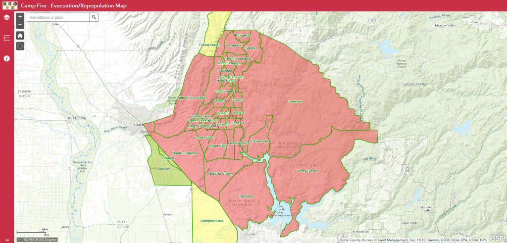 Evacuation/repopulation Map Released For Camp Fire | Ksby - California Campgrounds Map