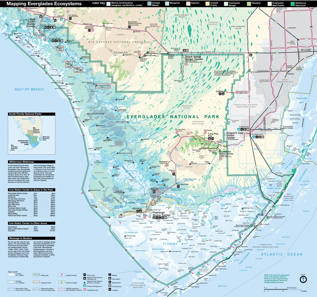 Everglades National Park   Park Map   - Map Of Florida Showing The Everglades