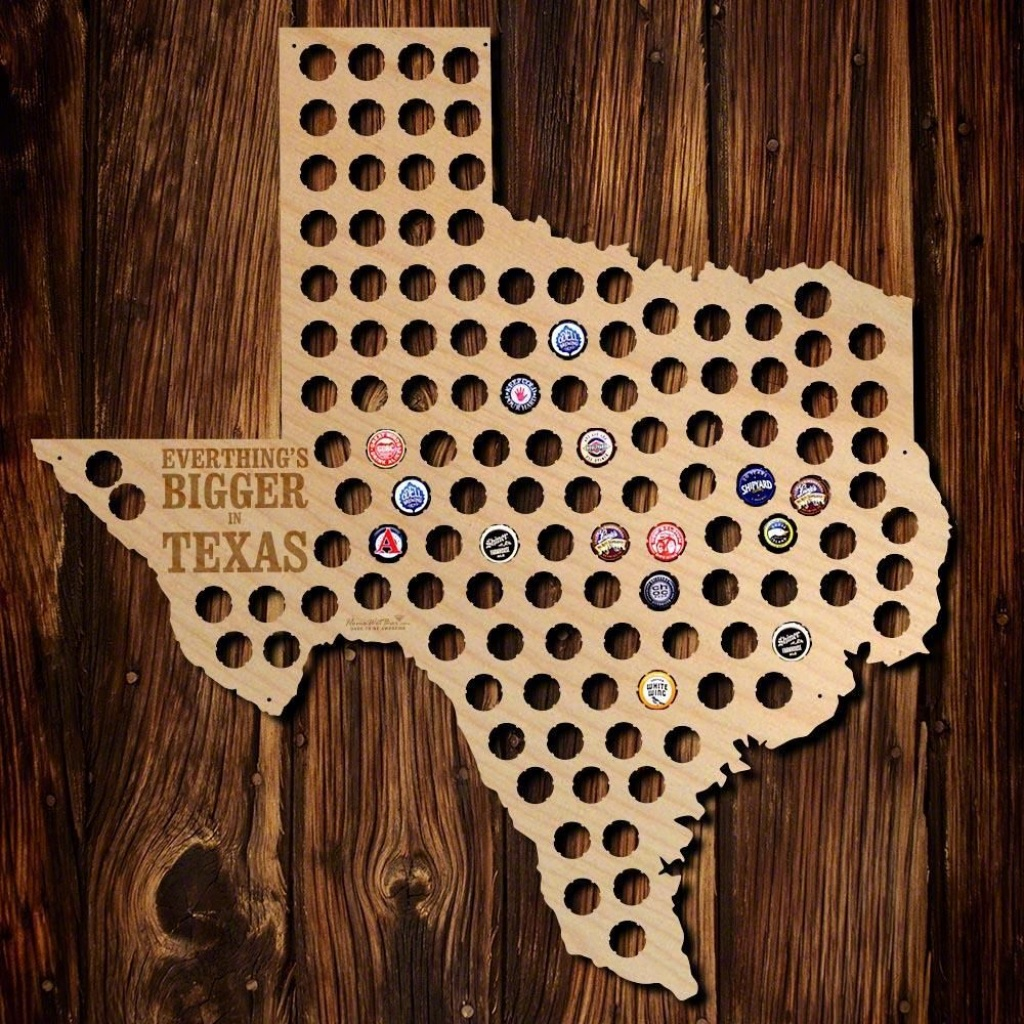 Everything Is Bigger In Texas Beer Cap Map, Brown | Great Idea - Texas Beer Cap Map