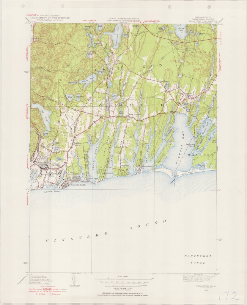 Falmouth Ma 1946-1954 Original Usgs Topographic Map Cape | Etsy - Printable Map Of Falmouth Ma