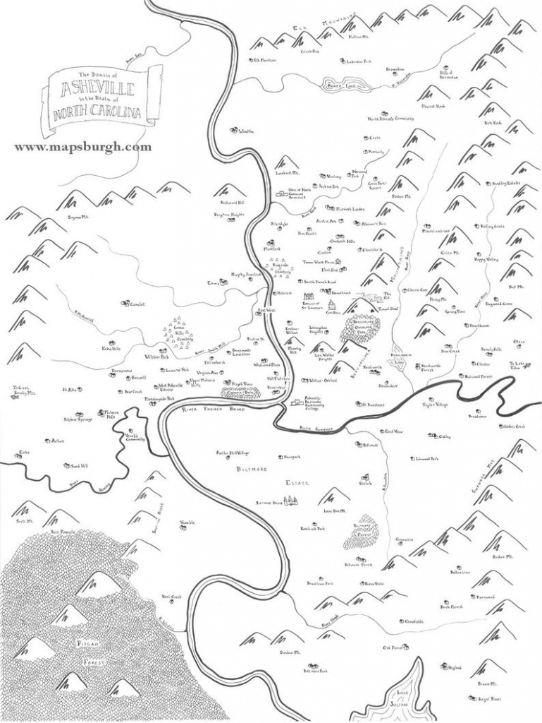 Fantasy Map Of Asheville Nc | Etsy - Printable Map Of Asheville Nc