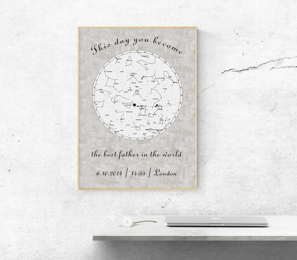 Father's Day Personal Gift Printable Star Map Custom Sky | Etsy - Printable Star Map