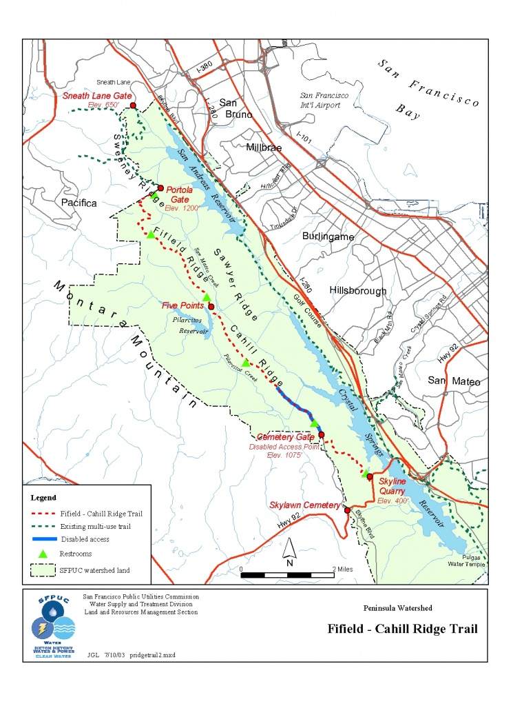 Fifield-Cahill Ridge Trail Map - Pacifica California • Mappery - Pacifica California Map