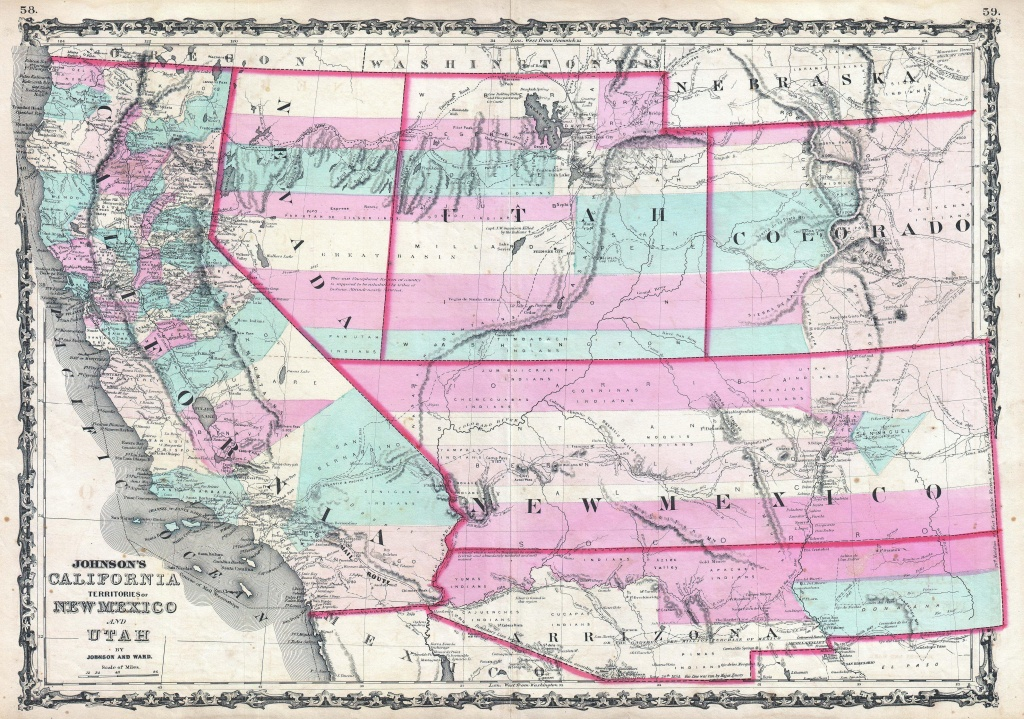 File:1862 Johnson Map Of California, Nevada, Utah, Colorado, New - California Nevada Arizona Map