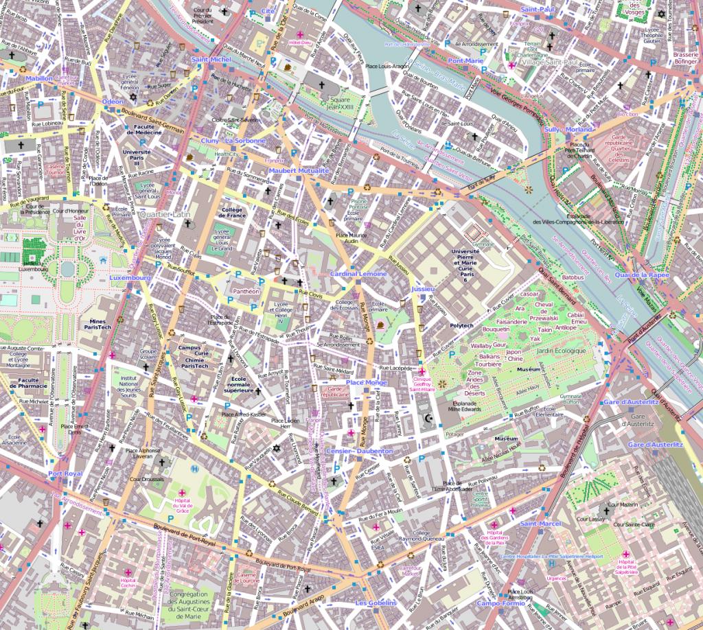 File:5E Arrondissement, Paris, France - Open Street Map - Paris Street Map Printable