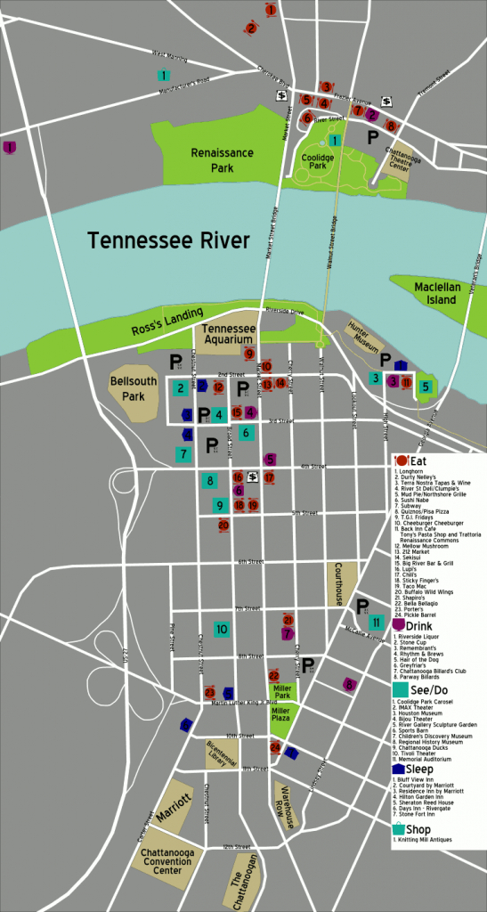 Printable Map Of Chattanooga