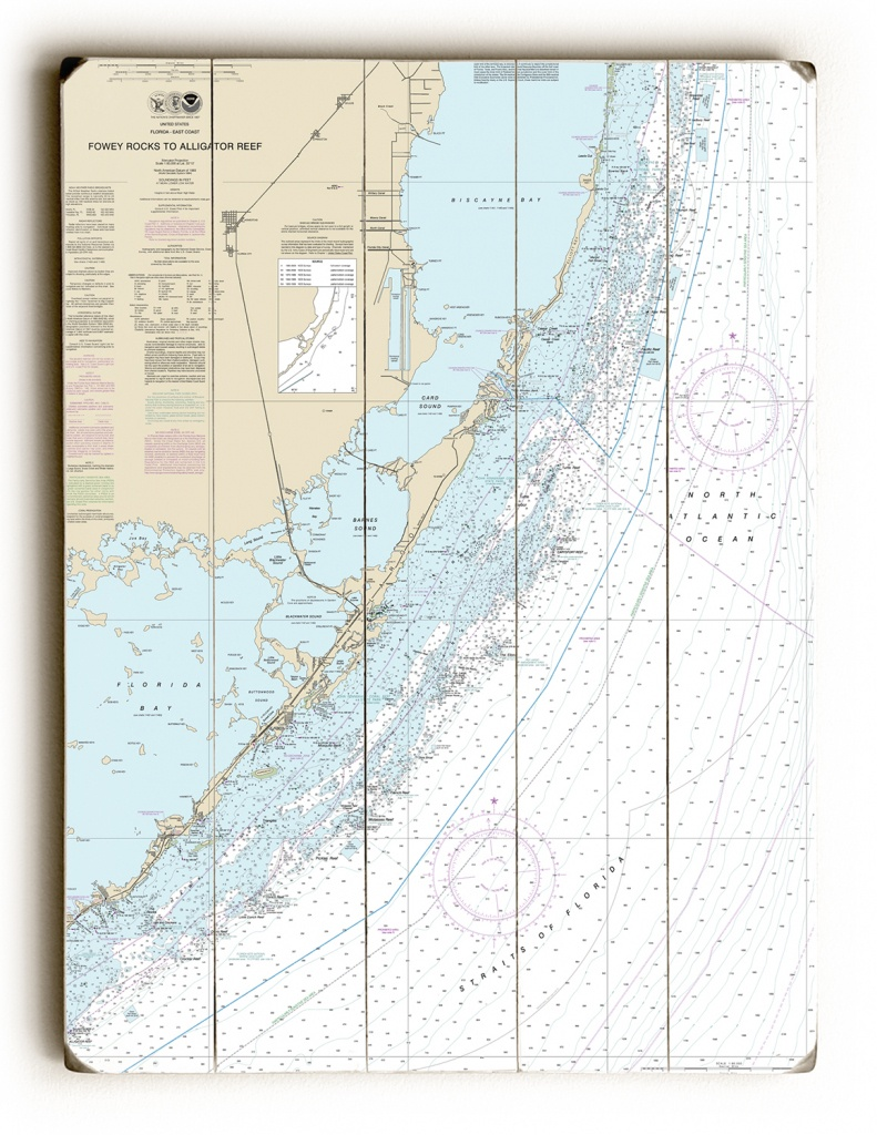Fl: Fowey Rocks To Alligator Reef, Florida Keys, Fl Nautical Chart Sign - Florida Keys Nautical Map
