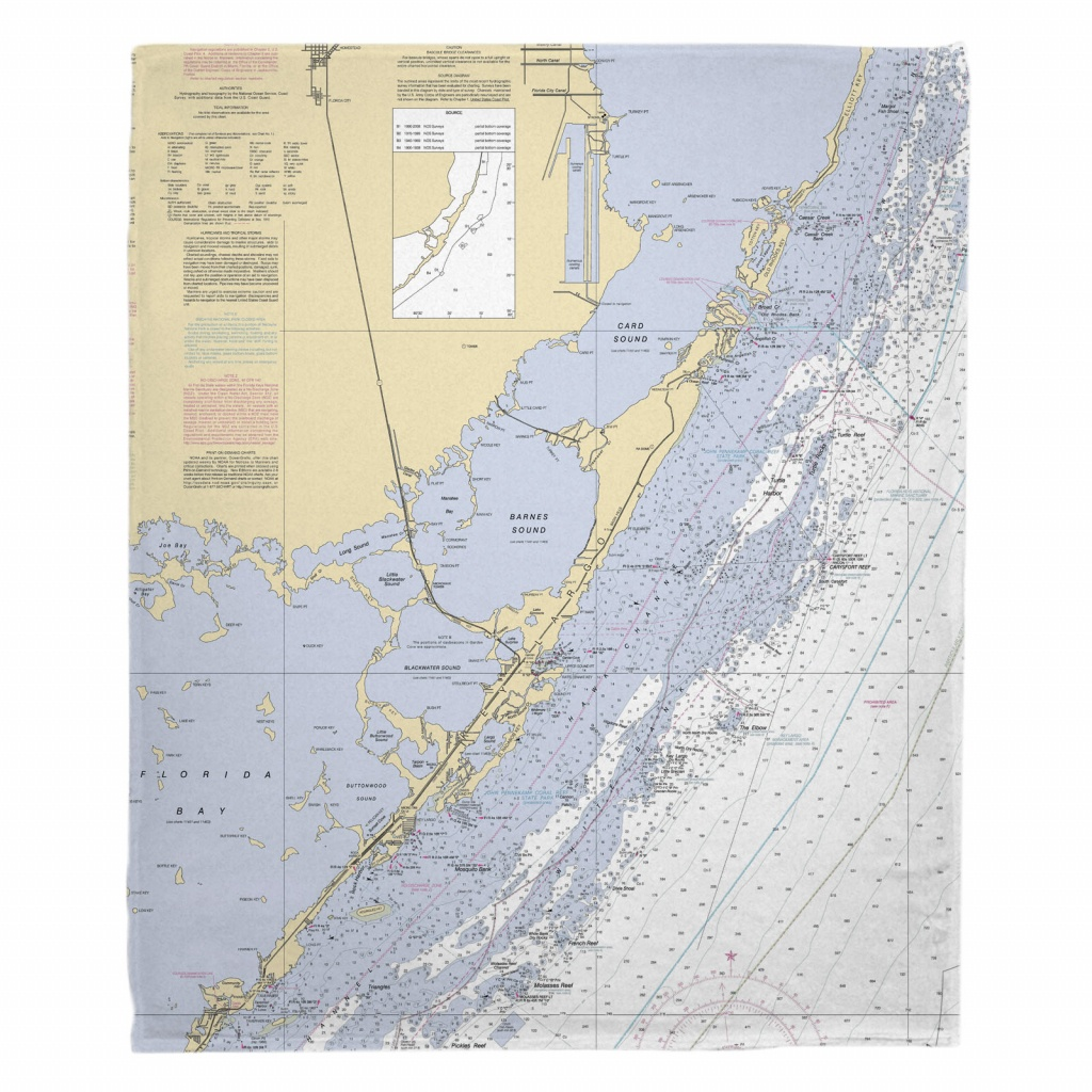 Fl: Key Largo, Fl Nautical Chart Blanket - Florida Keys Nautical Map