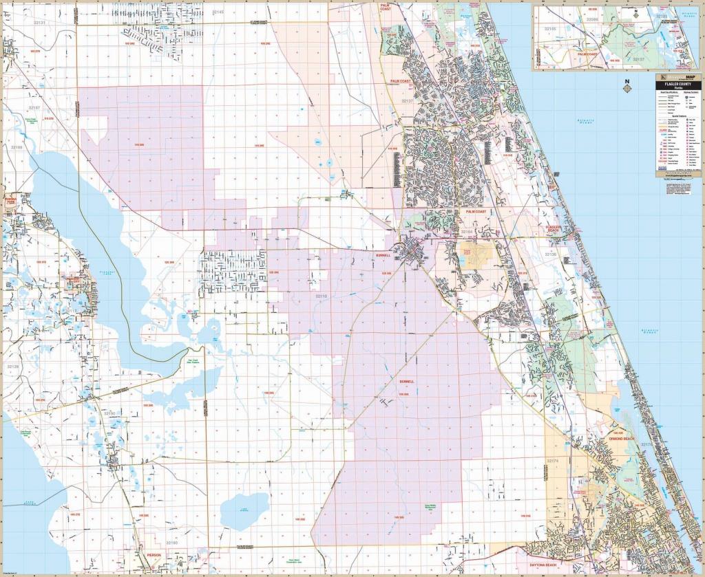 Flagler Co., Fl Wall Map – Kappa Map Group - Street Map Of Ormond Beach Florida