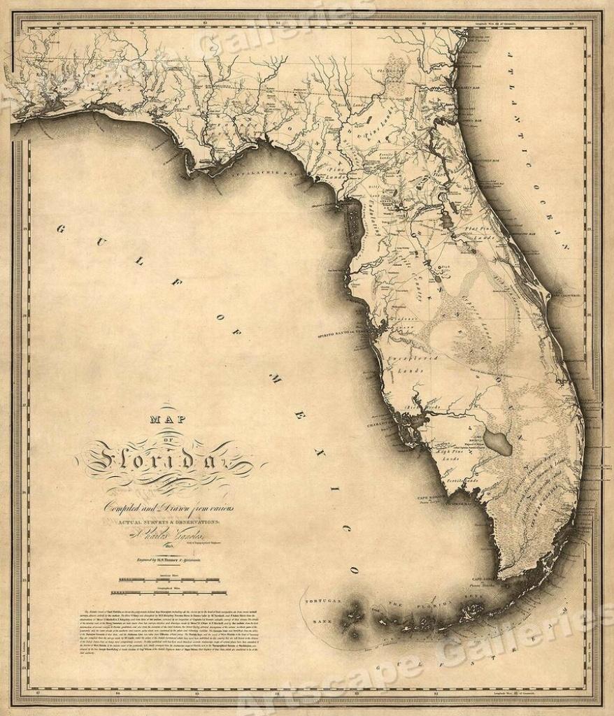 Florida 1823 Historic Decorative Wall Map - 16X20 | Ebay - Historic Florida Maps