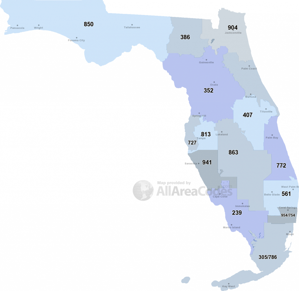 Florida Area Codes - Map, List, And Phone Lookup - Belle Glade Florida Map