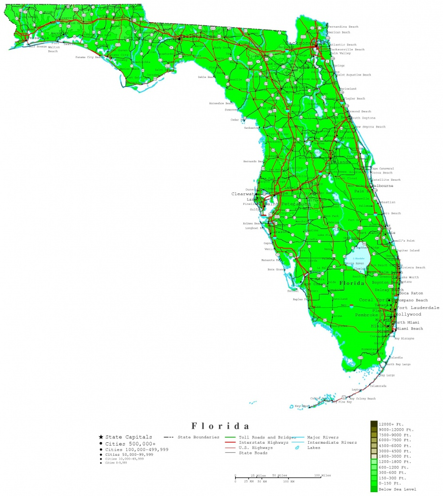 Florida Contour Map - Florida Elevation Map By County