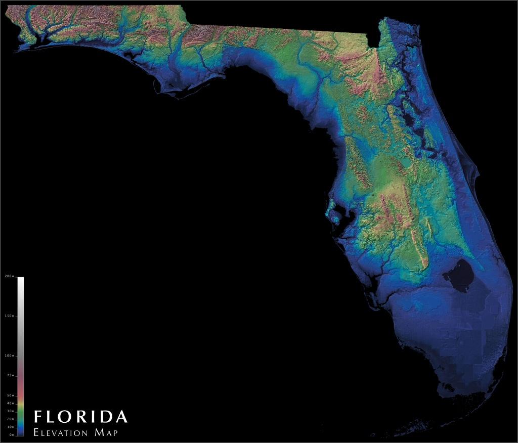 Florida Elevation Map : Florida - Topographic Map Of South Florida