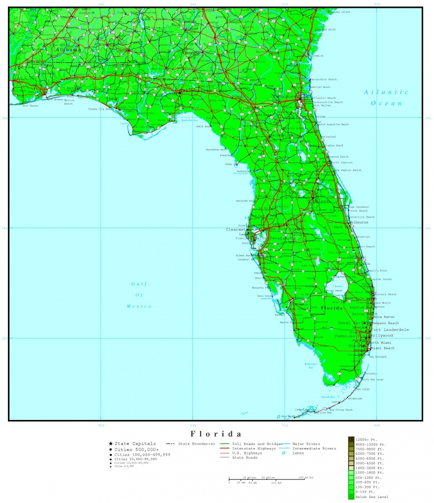 Florida Elevation Map - Intracoastal Waterway Florida Map