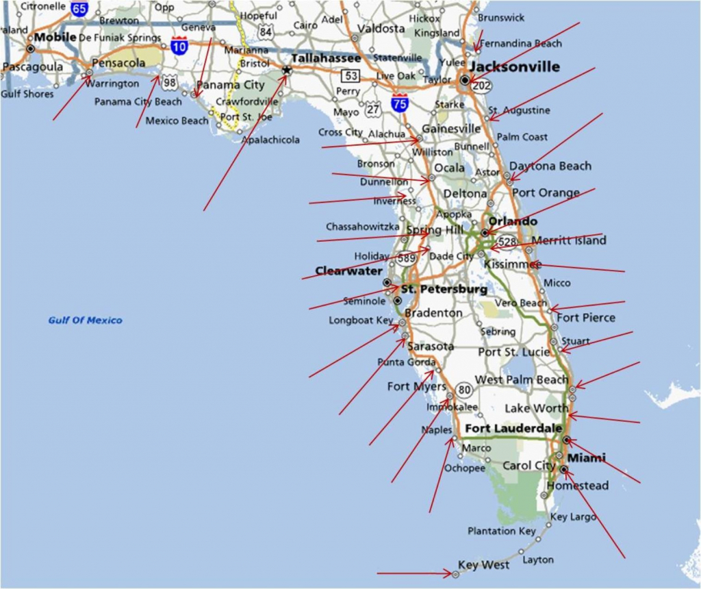 Florida Gulf Coast Beaches Map | M88M88 - Map Of Florida Cities And Beaches