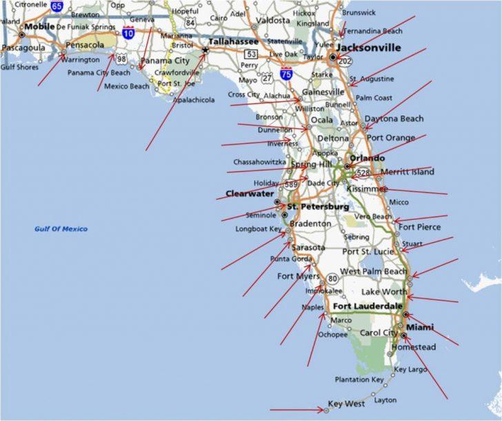 Map Of Florida Coast Beaches