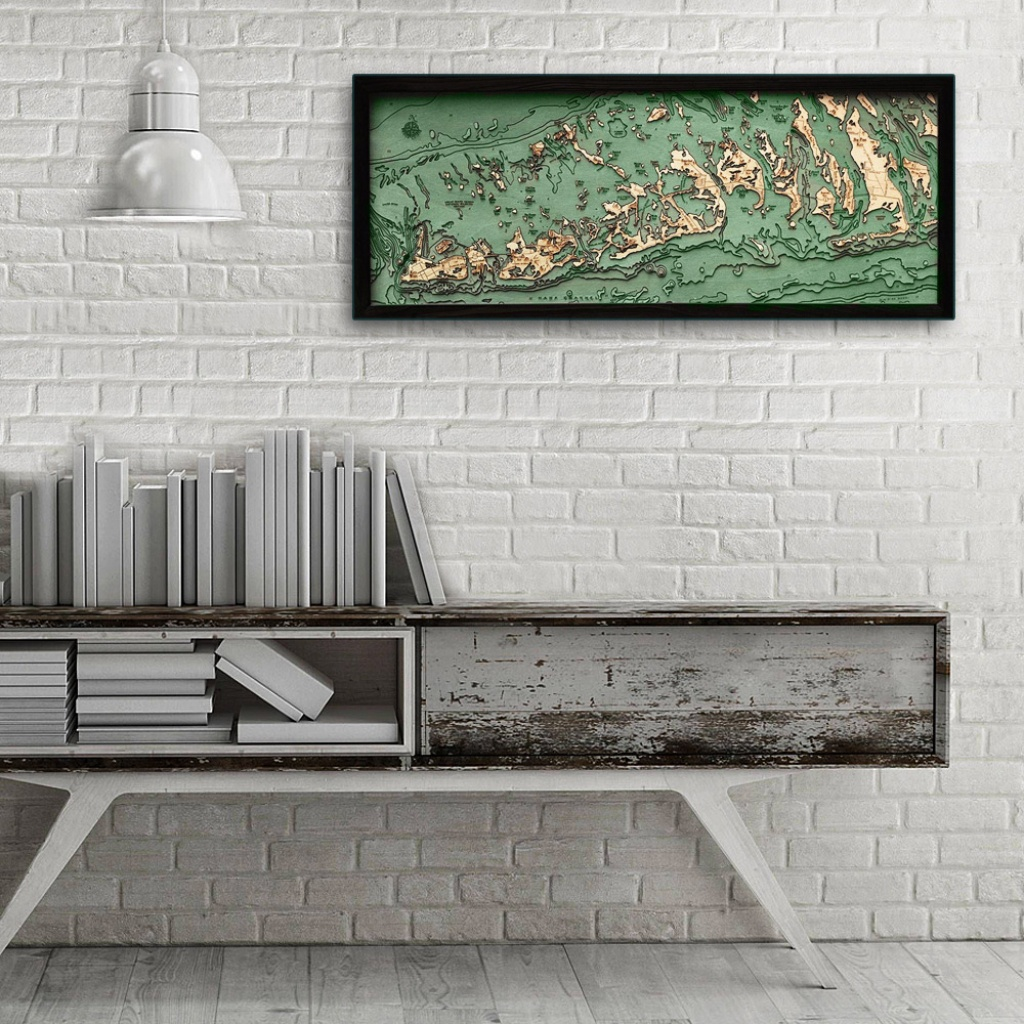 "Florida Keys, Florida 3D Nautical Wood Map, 13.5"" X 31"" - Florida Keys Map Poster"