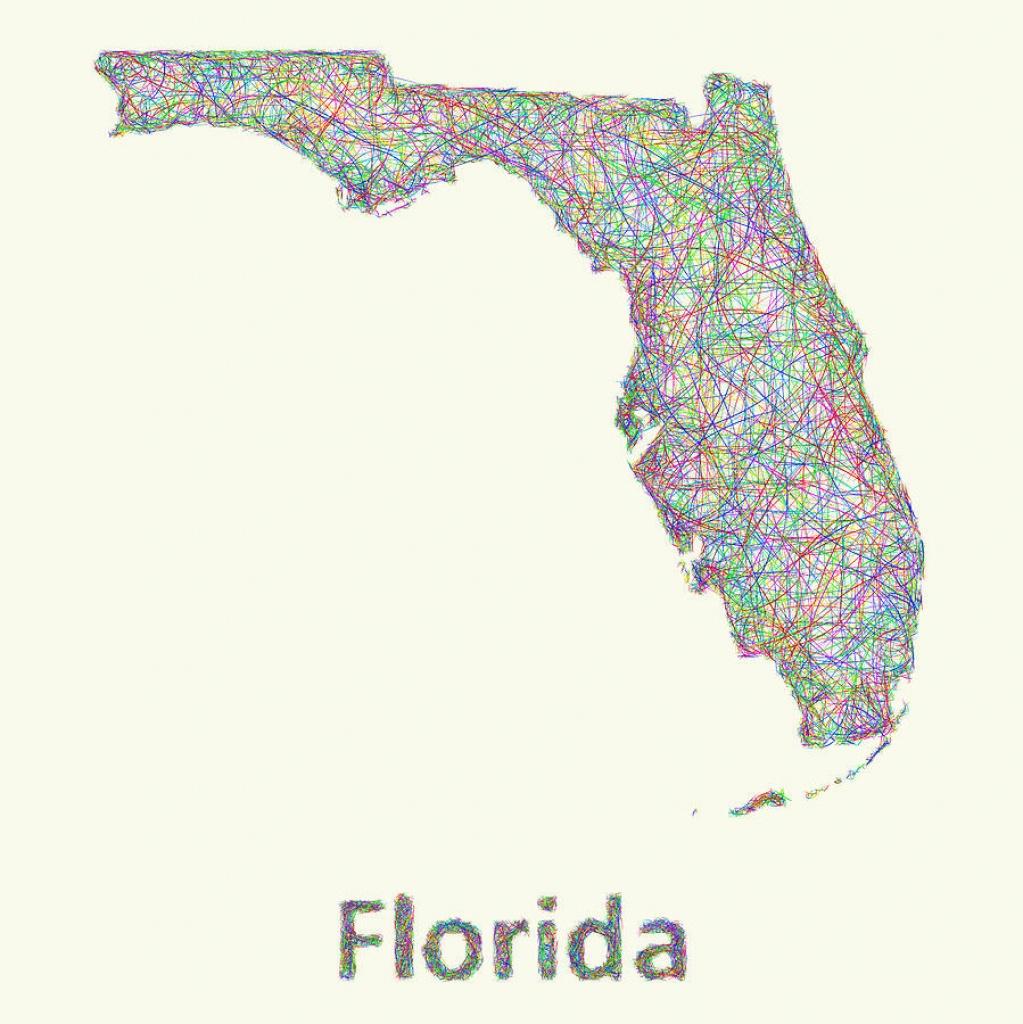 Florida Line Art Map Digital Artdavid Zydd - Florida Map Art
