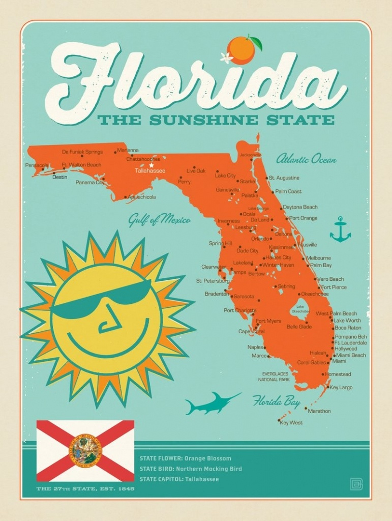 Florida Map | Anderson Design Group - Vintage Florida Map Poster