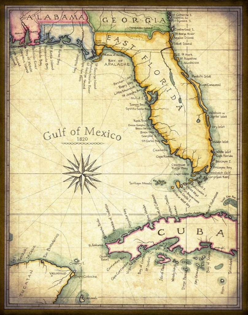 Florida Map Art 1820 11 X 14 Prints From Hand | Etsy - Florida Keys Map Art