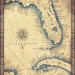 Florida Map Art Print C .1865 11 X 14 Hand Drawn | Etsy   Florida Map Art