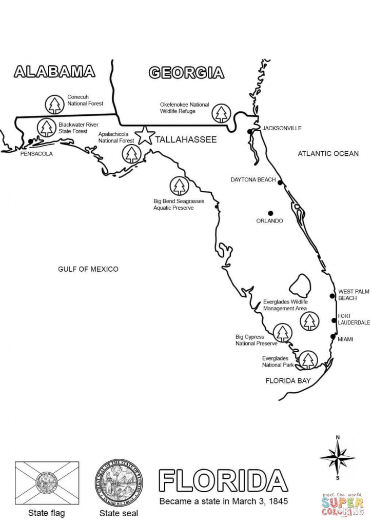 Florida Map Coloring Page | Free Printable Coloring Pages - Free Printable Map Of Florida