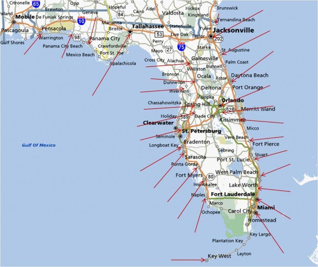 Florida Map East Coast Cities And Travel Information | Download Free - Treasure Coast Florida Map