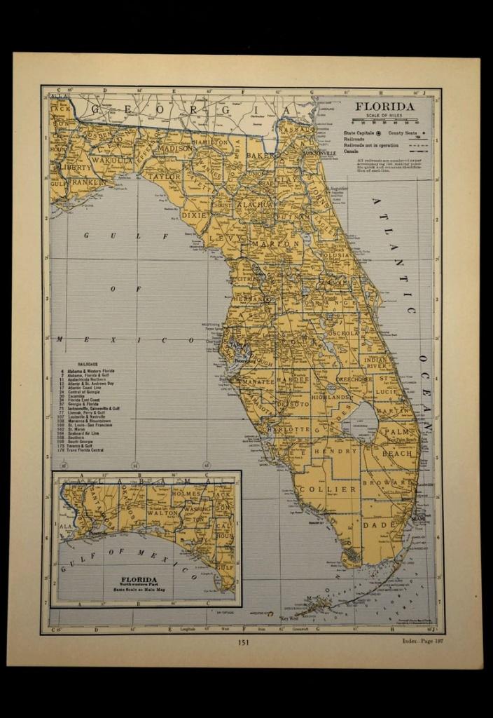 Florida Map Of Florida Wall Art Decor Antique Original | Etsy - Florida Map Wall Art
