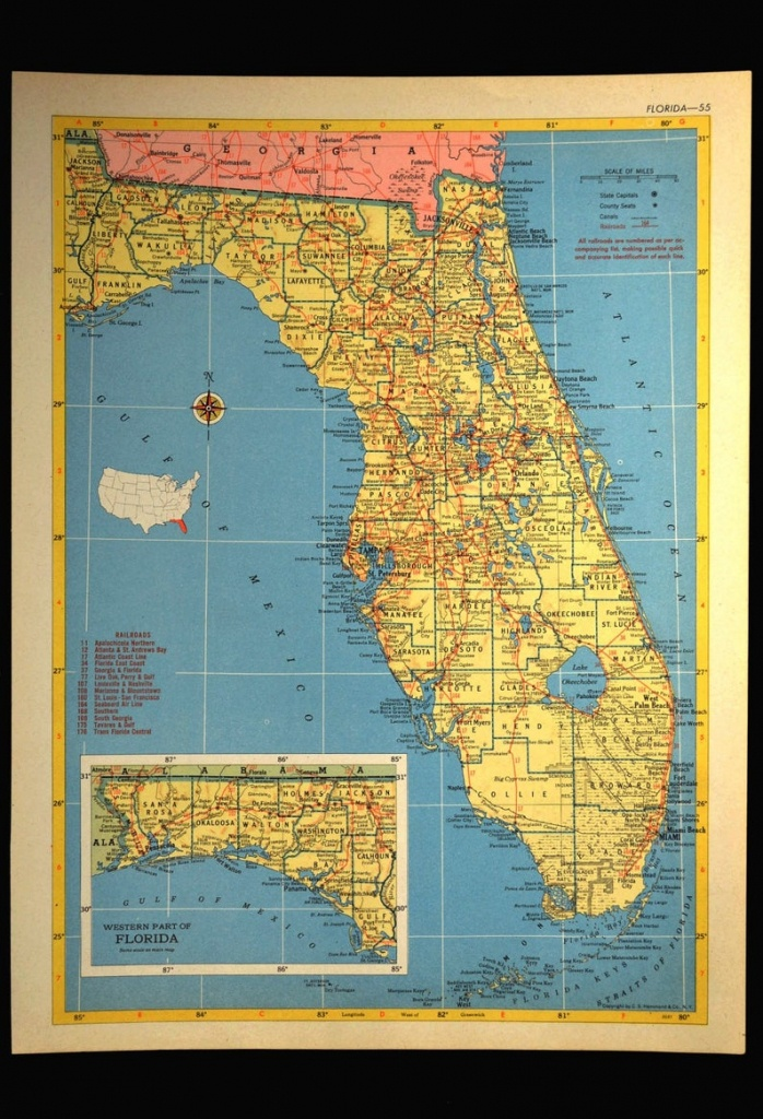 Florida Map Of Florida Wall Art Decor Vintage 1950S Original | Etsy - Florida Map Wall Art