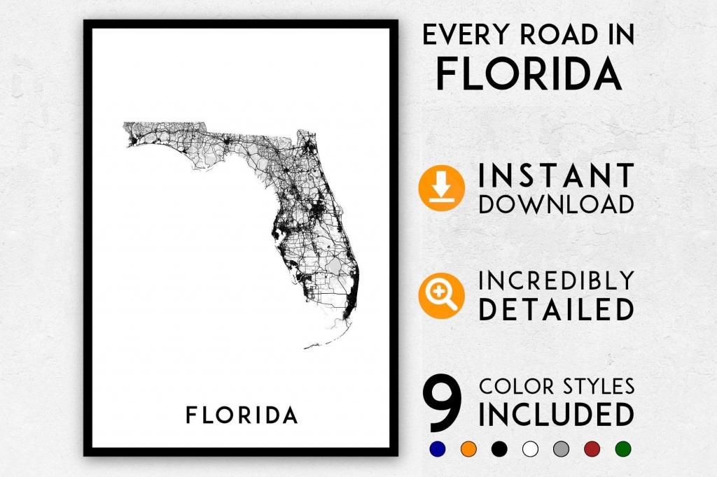 Florida Map Print Florida Print Miami Map Florida Poster | Etsy - Map Of Florida Art