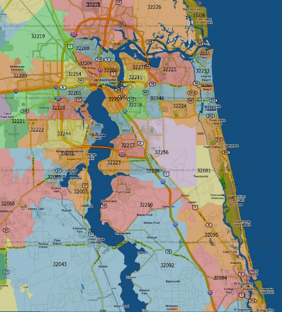 Florida Map With Zip Codes And Travel Information   Download Free - Florida Zip Code Map