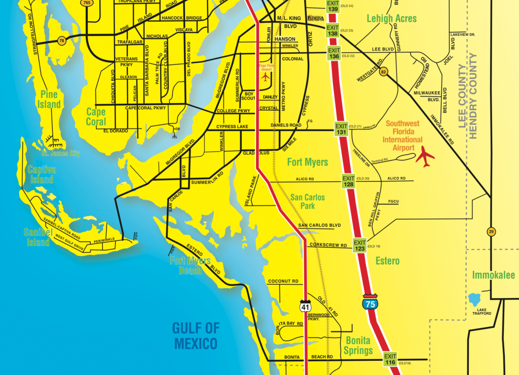 Florida Maps - Southwest Florida Travel - Fort Meyer Florida Map