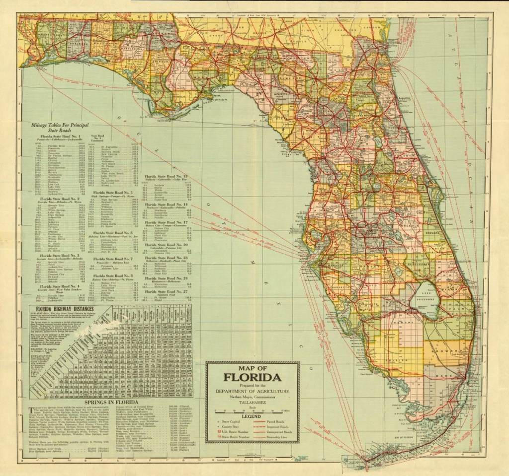 """Florida Memory On Twitter: """"a Map Of The Sunshine State Prepared For - State Of Florida Map Mileage"""