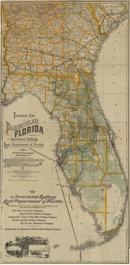 Florida Memory - Township Map Of Florida, 1890   Florida In 2019 - Antique Florida Maps For Sale