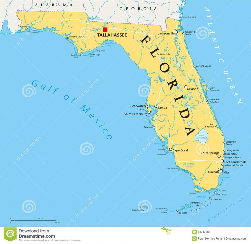 Florida Political Map Stock Vector. Illustration Of Okeechobee - Tallahassee On The Map Of Florida