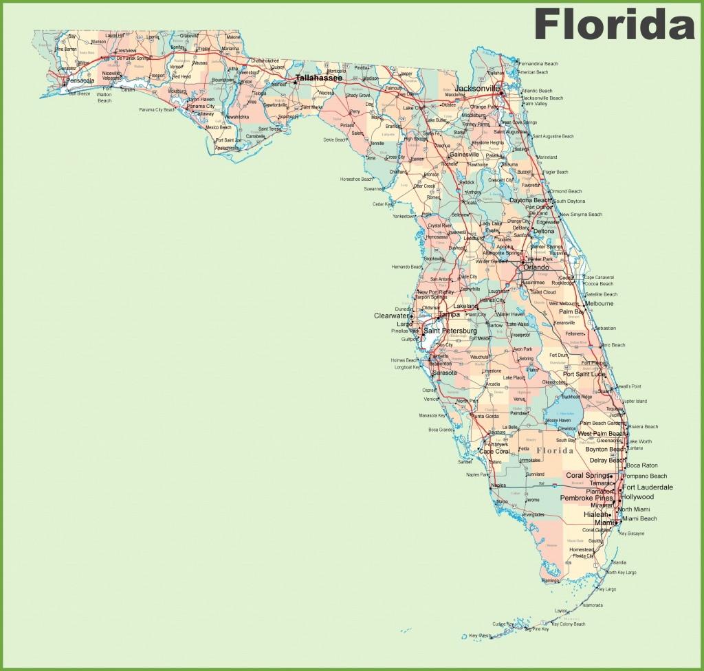 Florida Road Map With Cities And Towns - Florida Road Map 2018