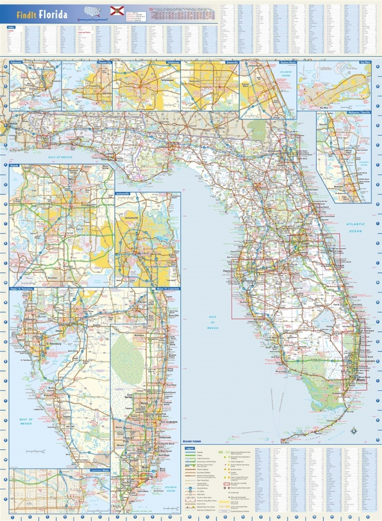 Florida State Wall Mapglobe Turner 22 X 30 - Florida Rest Areas Map