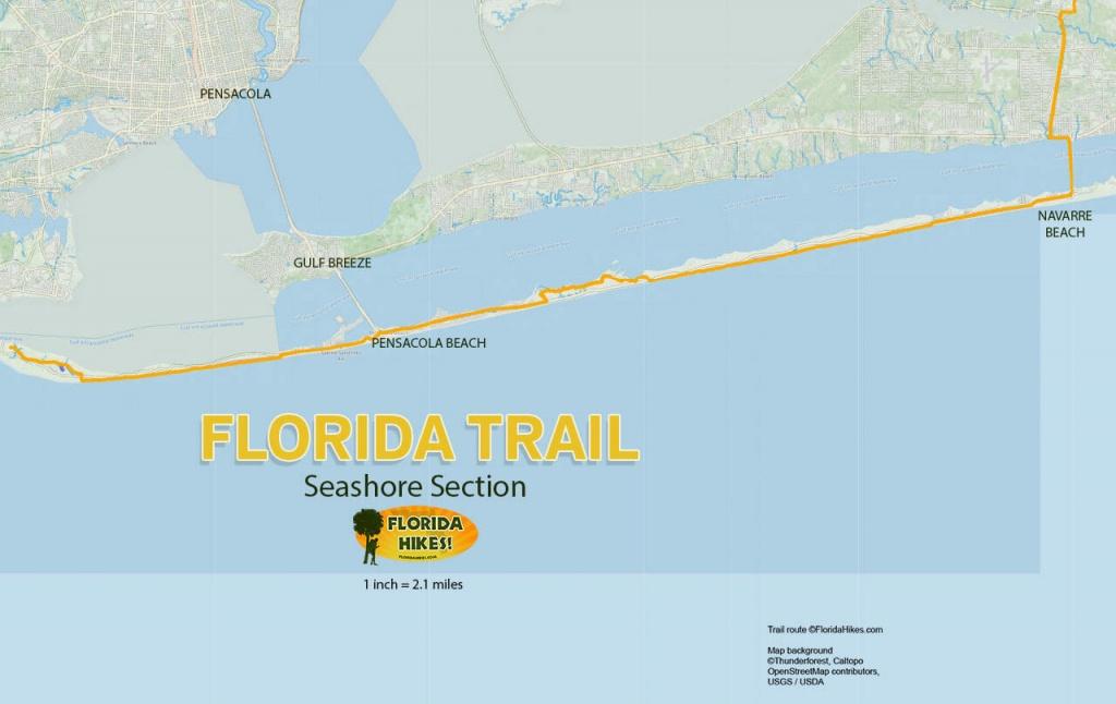 Florida Trail, Seashore | Florida Hikes! - Navarre Florida Map