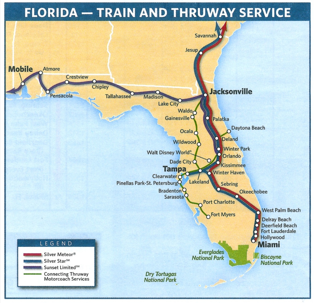 Florida Train Map And Travel Information | Download Free Florida - Amtrak Florida Map