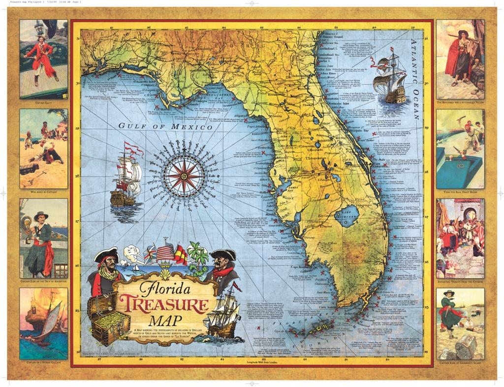 Florida Treasure Map | Historic Print & Map Company - Historic Florida Maps