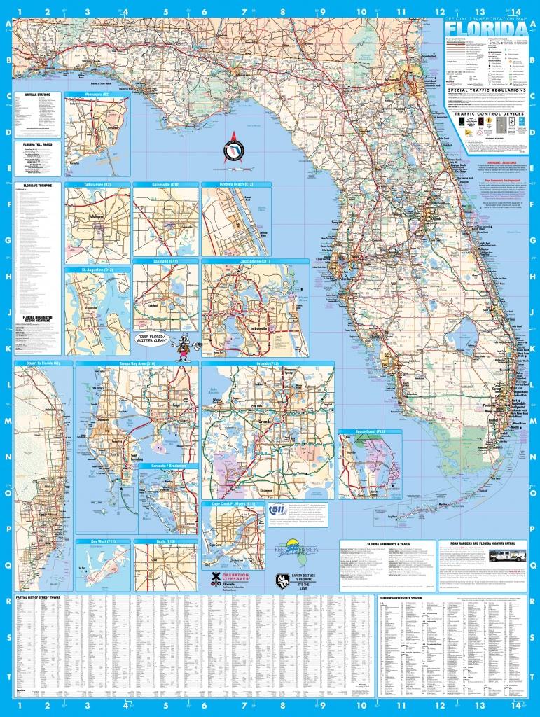 Florida Wall Map Executive Commercial Edition - Intracoastal Waterway Florida Map