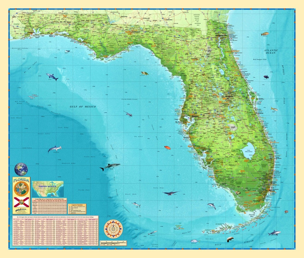 Florida Wall Map - The Map Shop - Florida Wall Map