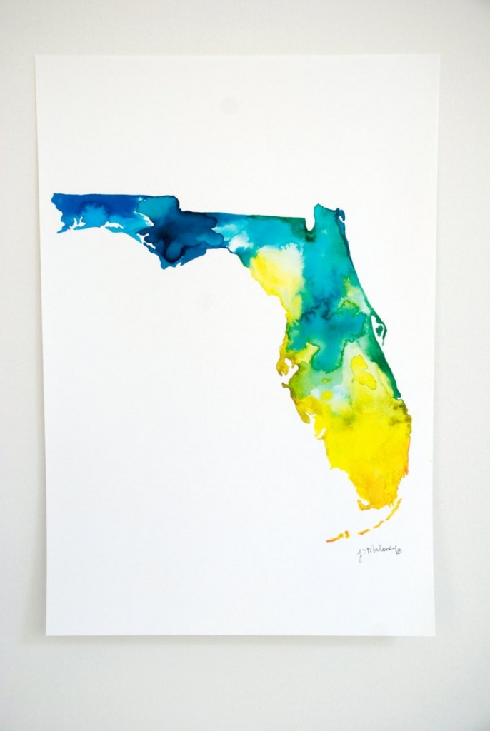 Florida Watercolor Map   Etsy - Where Is Watercolor Florida On A Map