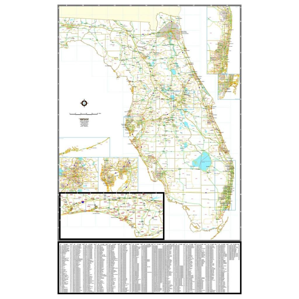 Florida Zip Code Wall Map - Florida Zip Code Map